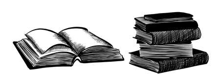 Stack of books, graphic. Open book. Vector illustration. 向量圖像