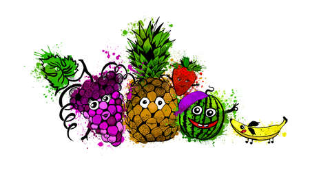 Cheerful set fruits. Vector illustration 向量圖像