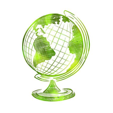 Green globe object. Back to school. Globe icon. Vector illustration