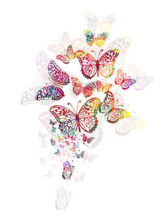 Abstract multicolored butterfly. Mixed media. Vector illustration 向量圖像