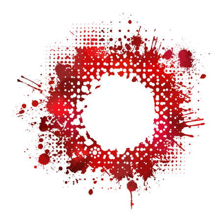 Red bloody stain. Frame for text. Vector illustration