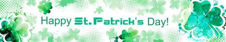 Postcard Happy St. Patricks Day. Long horizontal frame. Vector illustration