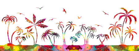Multi-colored palms trees. Vector illustration