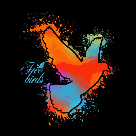 Bird watercolor. Multi-colored flying bird from blots. T-shirt print. Vector illustration