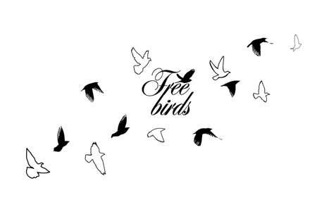 A flock of flying birds. Vector illustration 向量圖像