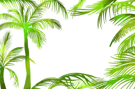 A frame of green palm leaves. Hello summer. Vector illustration