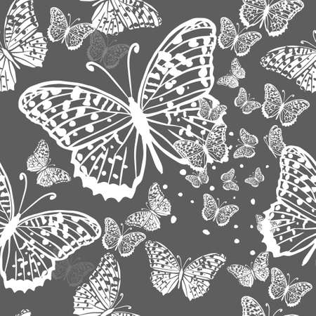 A seamless background with butterflies. Vintage background. Vector illustration