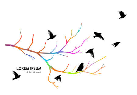 A multi-colored bare tree branch with birds . Vector illustration