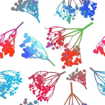 Twigs seamless pattern with berries. Vector illustration