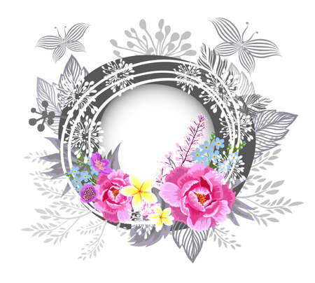 Round floral frame with multicolored flowers. Vector illustration 向量圖像