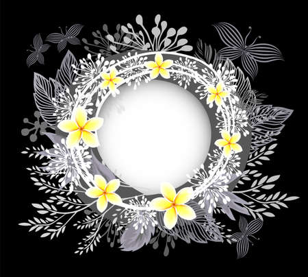 Beautiful round floral frame. Frangipani flowers Vector illustration