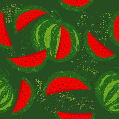 Watermelons seamless pattern. Vector illustration 向量圖像