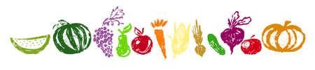 Set of vegetables and fruits. Vector illustration