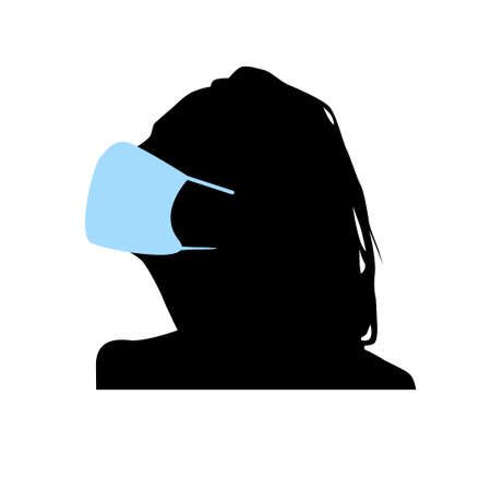 Woman in a medical mask. Vector illustration