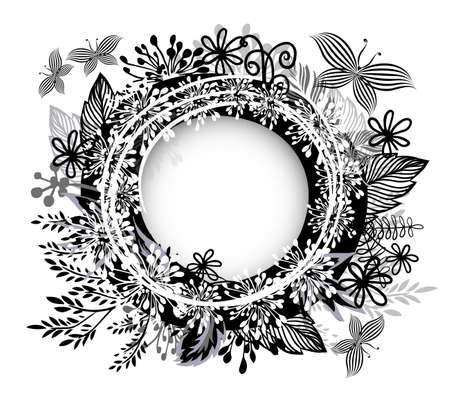 round monochrome frame made of twigs. Vector illustration
