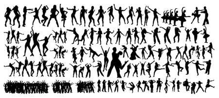 Large set. Dancing people. Vector illustration