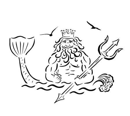 Poseidon with a trident line. Vector illustration 向量圖像