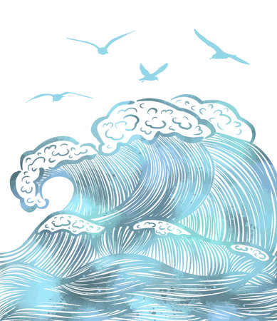 Sea waves graphic. Vector illustration of a sea with giant waves