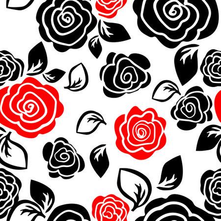 The seamless background is simple roses. Vector illustration Ilustração Vetorial