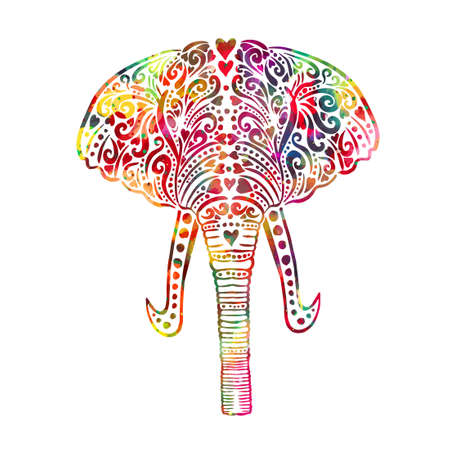 The elephants head is multi-colored. Vector illustration