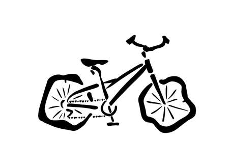 The object of the bike on the deflated wheels. Vector illustration 向量圖像