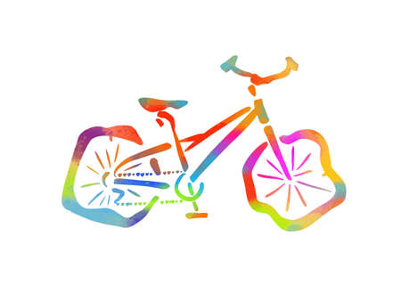 The object of the bike on the deflated wheels. Multi-colored bike. Mixed media. Vector illustration