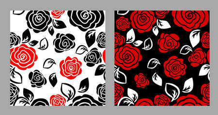 The seamless background is simple roses. Dark and light background. Vector illustration