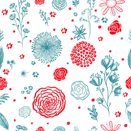 background seamless texture of beautiful red and blue flowers. Vector illustration