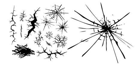 Black cracks set. Vector illustration Vektoros illusztráció