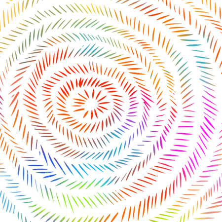 Concentric circles hatching lines abstract multicolored background. Hatching in a circle. Vector illustration