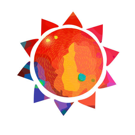 Symbol bright colorful sun. T-shirt print. Mixed media. Vector Illustration.