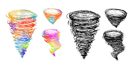 Whirlwind drawing with a pen. A tornado crater. Vector illustration