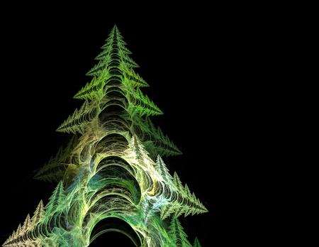 digital printing: fractal cristmass tree on black background