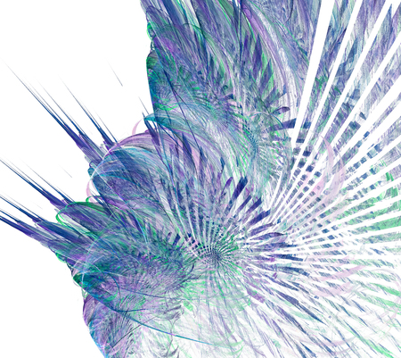 beautiful fractal blue and purple chaos wave on white background