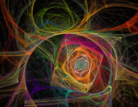 beautiful rainbow colored fractal chaos spiral and twist