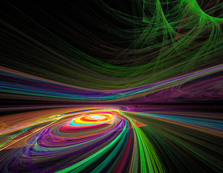 beautiful rainbow colored fractal chaos spiral and twist in space