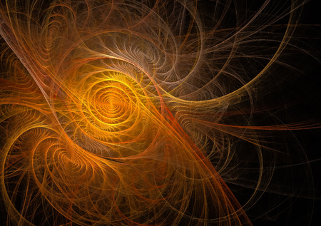 fractal orange abstract swirls on black background