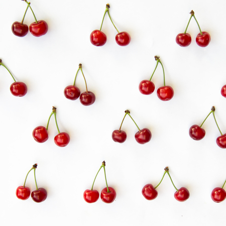 Cherries on white background isolated as background