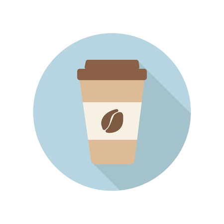 Flache Ikone der Kaffeetasse. Kaffee zum Mitnehmen. Vektor-Illustration