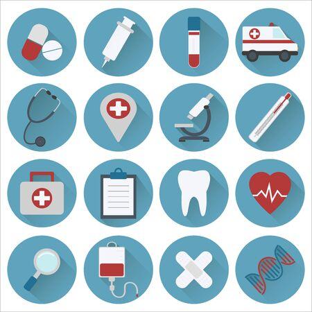 Collezione di icone di medicina. Design piatto. Illustrazione vettoriale Vettoriali