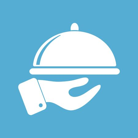 Food service icon on blue background. Restaurant icon. Vector illustration 向量圖像