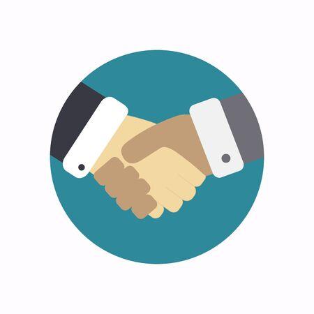 Handshake icon. Vector illustration. Flat