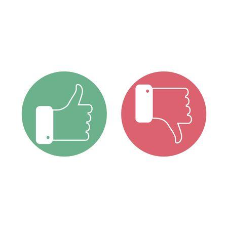Like and dislike icons. Vector illustration