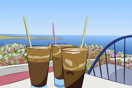 Vector illustration of summer vacation on the island of Santorini, Greece. Cold coffee frappe. Sea. The sun. Travel.