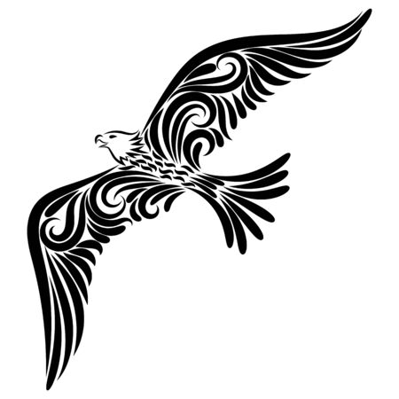 Vector illustration of an eagle in the night sky. Freedom. Tattoo