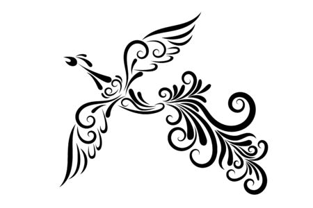 Vector illustration of a firebird from an ornament. Black outline. The character of Russian fairy tales. Mythical creature. Image for your design, decor, tattoos, printing. Vetores