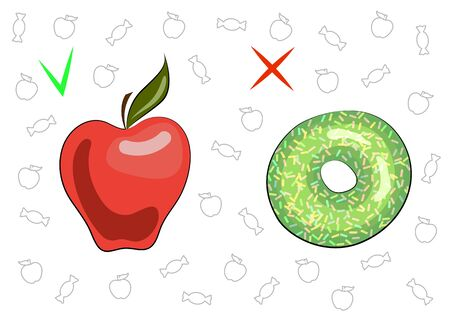 The concept of healthy and harmful food. Juicy tasty apple and sweet donut. The benefits and harm of food. Fruit and dessert. Vegan. Vegetarian. Healthy food. Bakery products. Vector illustration