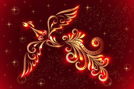 Image of a firebird from ornament elements in red and gold colors. Character of Russian fairy tales. Vector illustration.