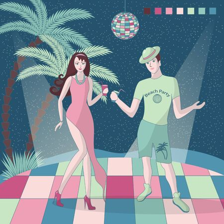 A girl and a guy are having fun at a party, dancing on the luminous floor. Beach party. A dance floor without walls, a disco ball hangs above them, and palm trees are visible nearby. Vector.