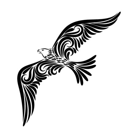 Stylized eagle drawing with a black line from the ornament. Illustration of a flying bird. Freedom. Independence. Isolated object on white background. Image for your decor and design. Tattoo.